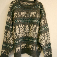 Vintage Men's Knit WOOL Forest Scene Sweater