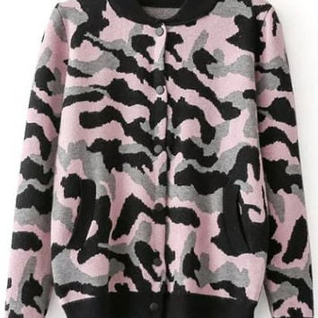 Camouflage Pattern Stand Neck Long Sleeve Jacket