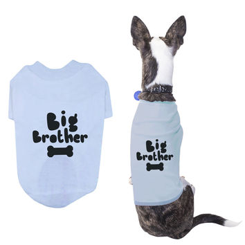 Big Brother Pet T-shirts Cute Dog Apparel Puppy Cloth Funny Sky Blue Dog Tees