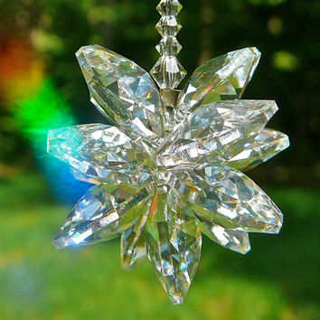 "Stella Long - 9"" Swarovski Crystal Suncatcher, Cluster of Clear Octagons on Crystal Strand"