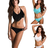New Women Ladies Girl Sexy Tassels fringe Bikini Set PAD Push Up Swimwear Swimsuit Bikini Bathing Suit Monokini SML_TQ = 1905864836