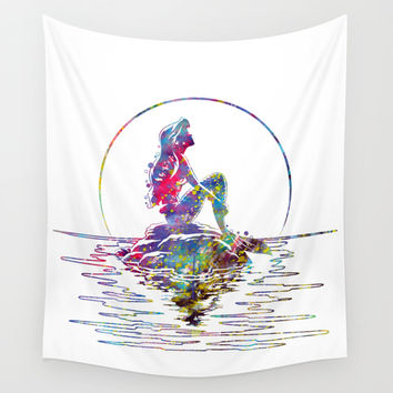 The Little Mermaid Ariel Silhouette Watercolor Wall Tapestry by Bitter Moon