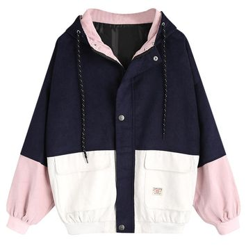 Trendy Wipalo Spring Jacket Coat Women Patchwork Color Block Hooded Pocket Corduroy Jackets Autumn Casual Jacket Coats Women Outerwear AT_94_13