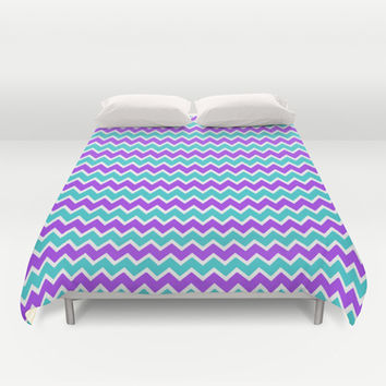Teal and Purple Chevron Duvet Cover by decampstudios