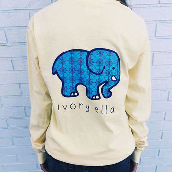 Nice Yellow Elephant and Letter Print Long Sleeve T-Shirt
