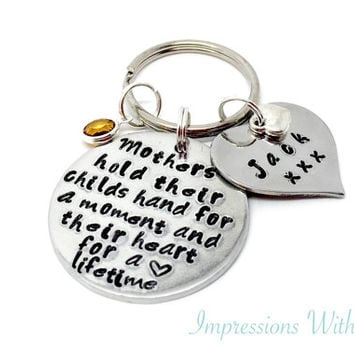 Hand stamped Personalised Mothers Day keyring