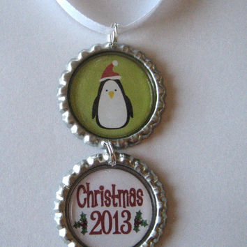 Cute Penguin with Christmas 2013 Flattened Bottle Cap Holiday Ornament