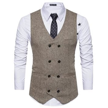Fashionable Men Suit Vest - Double Breasted Waistcoat - Casual Slim Tweed Vest