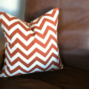 Fall Pillow Cover - 18 x 18, One, Rust Natural Chevron, Fall Decor, Fall Cushions, Modern Geometric Pillows, Throw Pillow, Orange Brown