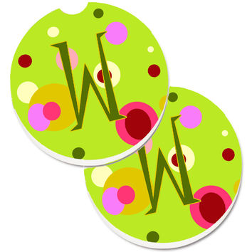 Letter W Monogram - Lime Green Set of 2 Cup Holder Car Coasters CJ1010-WCARC
