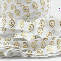 White and gold metallic swirl fold over elastic, Printed FOE, 5/8 elastic, Headband elastic,  elastic by the yard