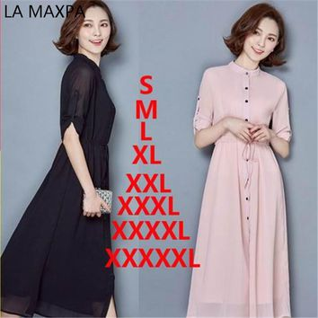 Spring and summer fashion lady pure color chiffon shirt collar long sleeve dress is the latest version of sweet temperament is a
