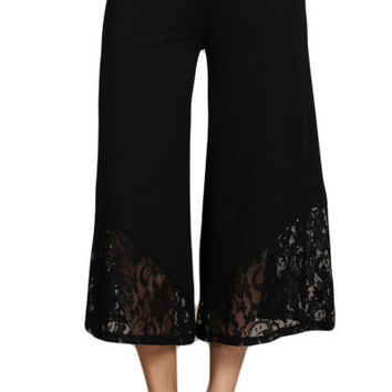 Womens Black Fold Over Waist Lace Inset Gaucho Shorts Pants