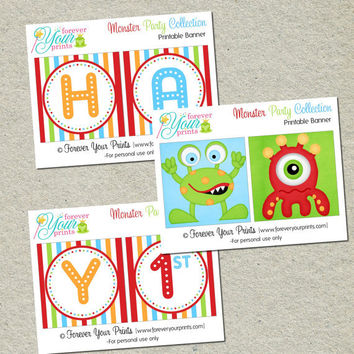 Printable Monster Party Birthday Banner - You Print - Digital File