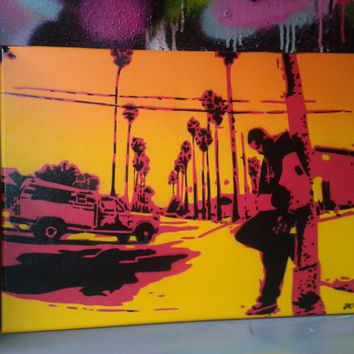 sunrise in los angeles stencil art painting on canvas,spraypaints,warren g, regulate,hip hop,america,west coast,red,yellow,orange,sunshine