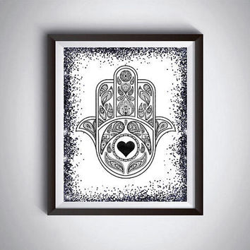 Hamsa print Hand of Fatima Black print Print at home Wall hanging Printable art Digital art Inspirational Gift for boys Instant download
