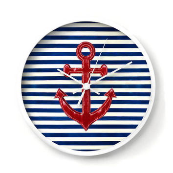 Nautical Anchor Wall Clock, red anchor on navy blue and white stripes