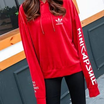 """Adidas"" Women Casual Fashion Velvet Letter Print Hooded Long Sleeve Pullover Sweater"