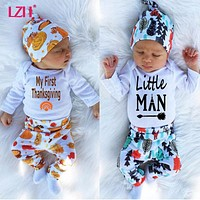LZH 2017 Autumn Winter Newborn Baby Boys Clothes Set My First Thanksgiving Outfit Romper+Pant+Hat 3pcs Baby Suit Infant Clothing