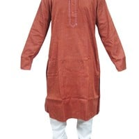 Men's India Rust Cotton Kurta with White Pajama Set Ethnic Wear, Gift for Him