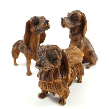 Vintage Hand Carved Wood Dog Figurines