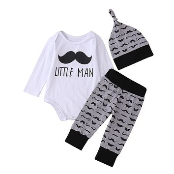 3Pcs Newborn Baby Boy Girl Clothes Sets Comfy Romper Tops Long Pants Legging Cute Funny Moustache Clothing Set Outfits