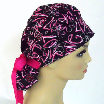 Surgical Scrub Hat or Cap Bouffant Women's Love