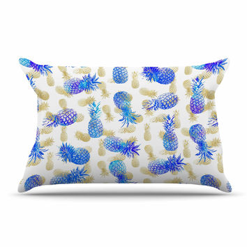 """Noonday Design """"Pineapple Party"""" Blue Illustration Pillow Case"""