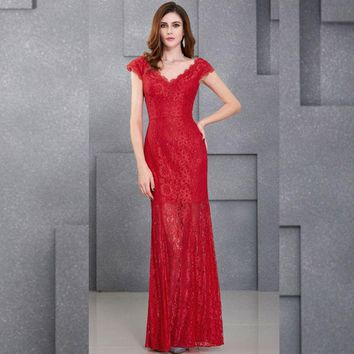 Cap Sleeve Prom Dresses V Neck Vintage Lace Evening Dress Long Red Prom Dress