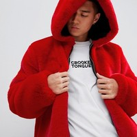 ASOS DESIGN hooded faux fur in red at asos.com