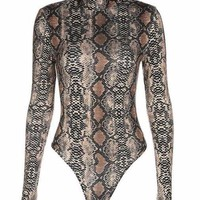 Snake Print Long Sleeve Turtleneck Bodysuit