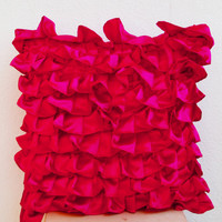 Hot Pink Ruffle Pillow -Decorative pillow - Pink Ruffle throw pillow - Ruffle throw cushion - gift - 16x16 - Pink cushion - couch pillow