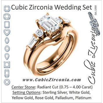 CZ Wedding Set, featuring The Sarah engagement ring (Customizable 5-stone Design with Radiant Cut Center and Baguette/Round Bar-set Accents)