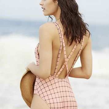 Out From Under Snap-Front One-Piece Printed Swimsuit