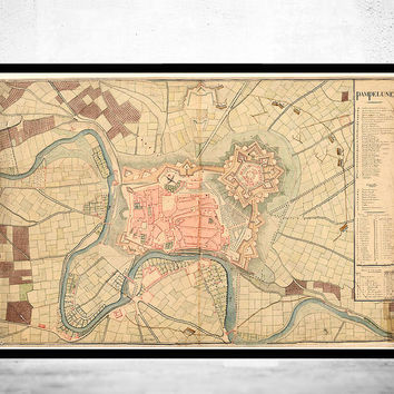 Old Map of Pamplona City 1823 Spain