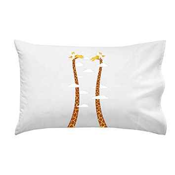 'Cloudy Day' Funny Cartoon w/ Giraffes Long Necks - Pillow Case Single Pillowcase