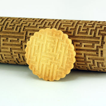 MAZE, LABIRYNTH – Embossing wooden rolling pin