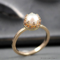 Reserve for Nestor- Deposit - 14k Gold Pearl Ring -  Pearl Engagement  Ring