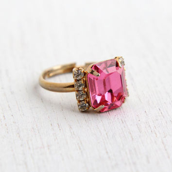 Vintage Pink Rhinestone Ring - 1960s Adjustable Gold Tone Cocktail Ring Costume Jewelry / Pink & Clear Ice