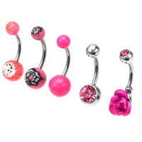 14 Gauge Pretty Pink Cubic Zirconia Banana Belly Button Ring 5-Pack