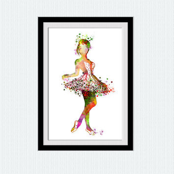 Ballerina colorful print, ballerina watercolor poster, ballet ilustration for gift, home decoration, ballet studio poser, nursery room, W24