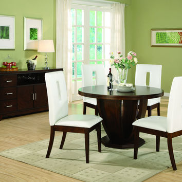 5 pc Elmhurst II collection round top pedestal deep cherry brown finish wood dining table set