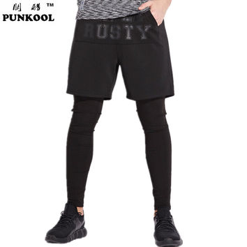 New Hot Men's Legging Masculina Black Two Piece Hiphop Pants