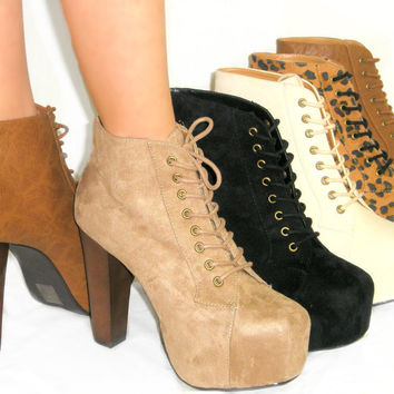 SO HOT! Sexy Lace Up Lita Booties *Platform Ankle Boots*Super Comfy Stacked Heel