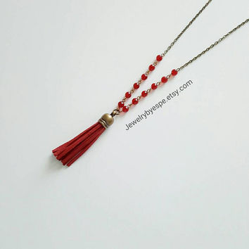 Leather Tassel Necklace Red Necklace Long Boho Necklace Bohemian Necklace Gypsy Necklace
