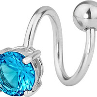 14g Surgical Steel Spiral Twist Aqua CZ Solitaire Jeweled Belly Button Ring