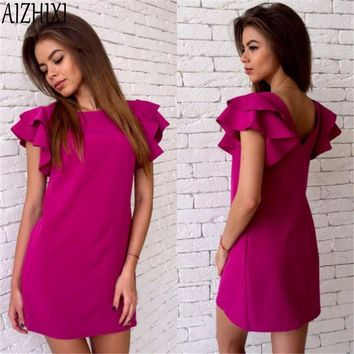 AIZHIXI Fshion Butterfly Sleeve Backless 2017 Summer Solid Straight Dress Woman Sexy Mini Party Club Dresses
