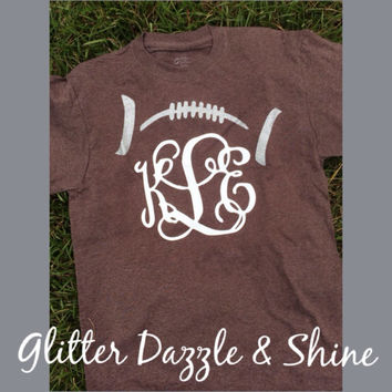 Monogram Football TShirt With Glitter