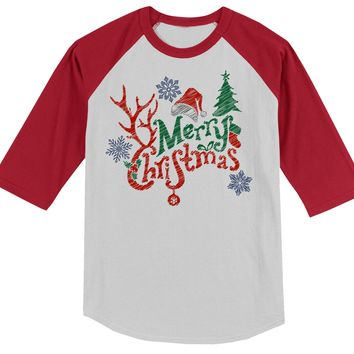 Shirts By Sarah Big Boy's Merry Christmas 3/4 Sleeve Raglan Cute Antlers Hat