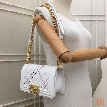 HCXX 19Sep 506 Fashion 67086A Le Boy Embroidery Quilted Chain Crossbody Pouch Flap Shoulder Baguette Bag 20-12-7cm